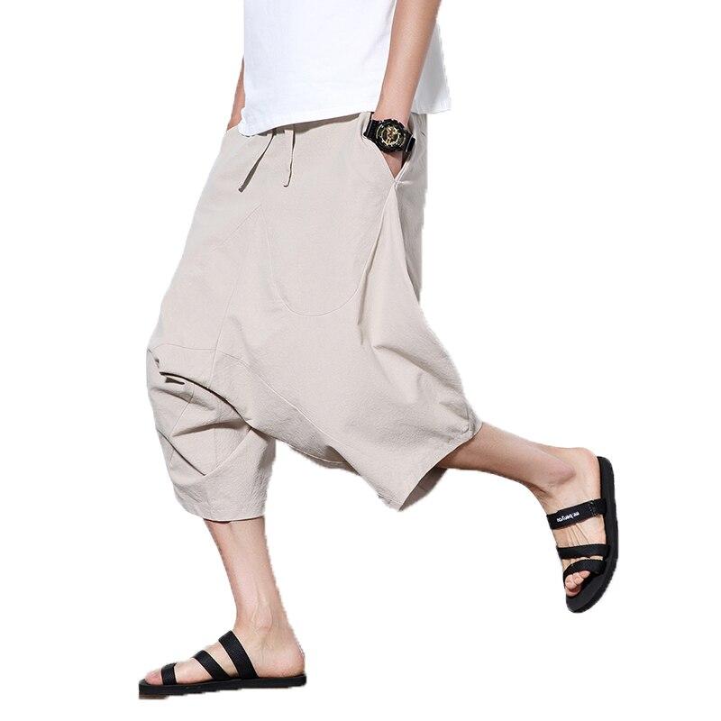 2019 Men Baggy Cross Pants Male Elastic Waist Calf Length Harem Pants Linen Trousers Men Harajuku HipHop Big Crotc Bloomer Pants