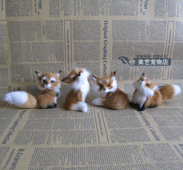 simulation fox model polyethylene& fur about 8cm brown foxes toy,one lot/ 4 pieces handicraft,home Decoration xmas gift b3601