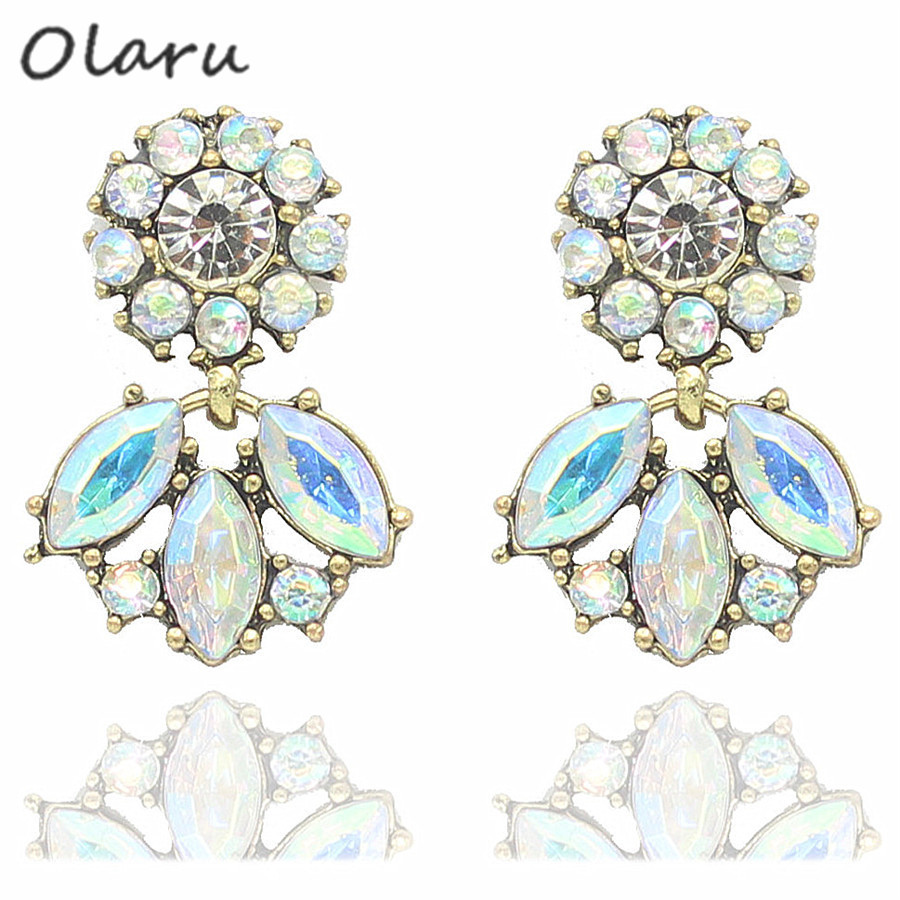 Olaru Good quality SALE NEW Vintage Jewelry Crystal Stud Earring For Women statement earrings Christmas Gift 19