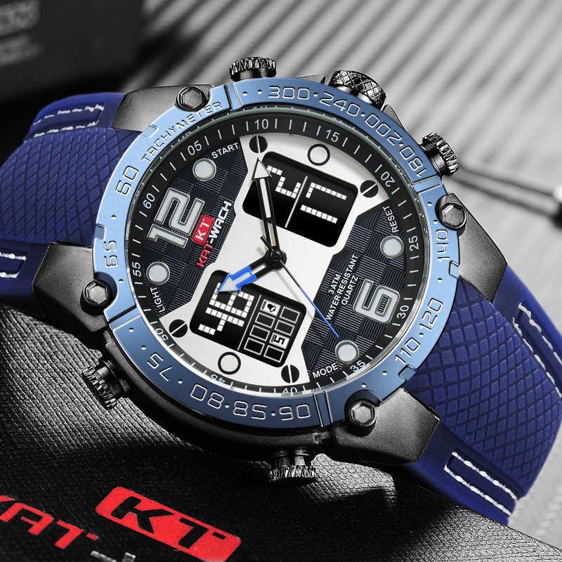 Роскошные брендовые часы, мужские спортивные часы, светодиодный цифровой мужской военный силиконовый ремешок, кварцевые наручные часы, мужские часы