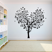 Tree Wall Decal Sticker Bedroom tree of life roots birds flying away home Many hearts on the tree A7-009 the tree of life