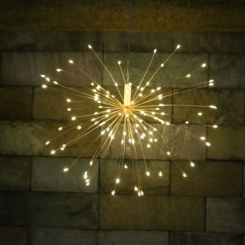 8 Mode Hanging Starburst Lights DIY Fairy LED String Lights Battery Solar Powered Twinkle Lamp Patio Christmas Home Decoration 200 leds diy hanging starburst string light solar powered firework copper fairy garland christmas wedding twinkle lights ca79
