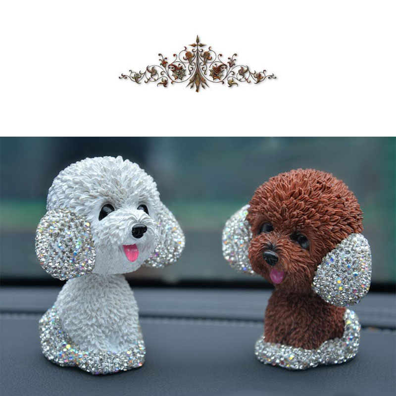 Image 4 - New Style Car Interior Ornaments Diamond Cute Dog Shaking Auto Interior Accessories Car Decoration Living Room Bedroom Girl Gift-in Ornaments from Automobiles & Motorcycles