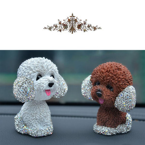 Image 4 - New Style Car Interior Ornaments Diamond Cute Dog Shaking Auto Interior Accessories Car Decoration Living Room Bedroom Girl Gift