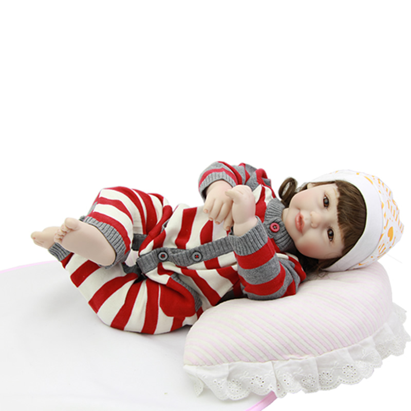 Smiling Lovely Reborn Baby Doll 20 Inch 50 cm Lifelike Girl Babies Princess Newborn Dolls Toy With Stripped Romper Kids Playmate  18 inch lovely american girl princess doll baby toy doll with fashion designed dress journey girl doll alexander doll
