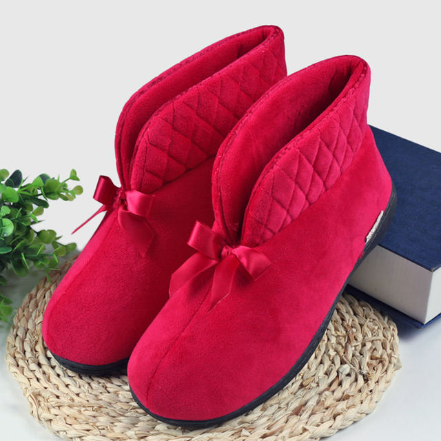 New Autumn And Winter Warm Shoes Cute Bow Indoor Boots Soft-soled Women Slippers At Home Plush Boots