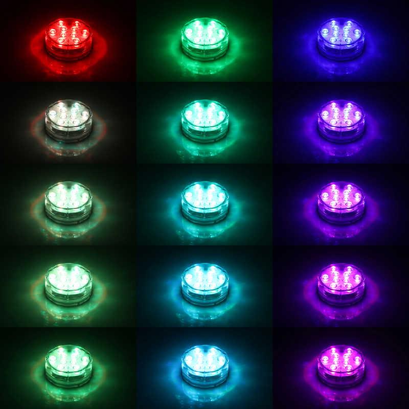 Красочные IP68 RGB 10 светодиодный RGB погружной светильник дистанционного Управление ваза лампа для вечерние контейнеры подводный свет для бассейна