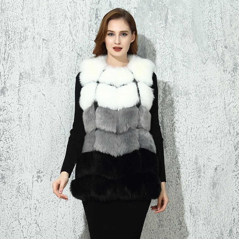 CP искусственный мех фабрика Лисий искусственный мех Жилеты для женщин осень зима лисий искусственный мех пальто разноцветный жилет женский искусственный мех CP07