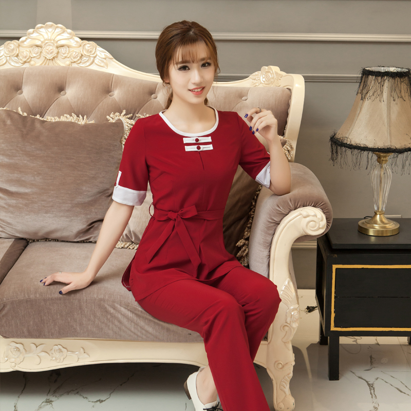 S-5XL Plus Size Pedicure Technician Clothing New Slim Elegant Thai Massage Uniforms SPA Women Beautician Working Suit Wholesales