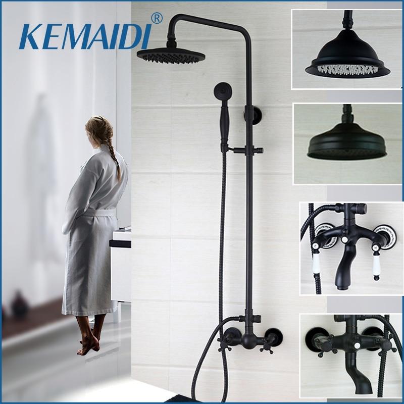 KEMAIDI nueva llegada baño ducha negro montado en la pared 8