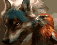 Wolf And Eagle DIY Animal Painting By Numbers Kits With Frame Coloring Painting By Numbers Unique