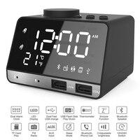 New Style LED Digital Alarm Clock Snooze Table Clock Bluetooth Speaker FM Radio USB Mobile Charge TF Mirror Alarm Clock