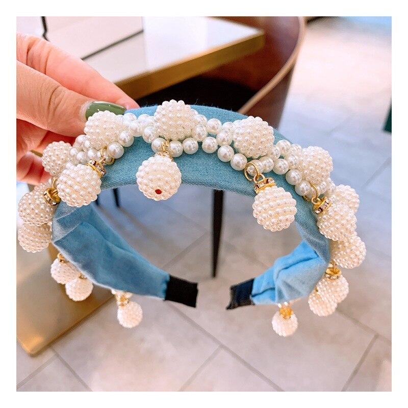 Luxus Denim Breite Perle Stirnbänder Barock Ball Anhänger Crown Blue Turban Party Zeigen Haarbänder Geschenke für Frauen