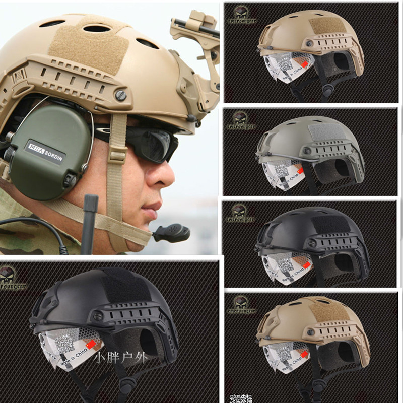 NEW Emerson FAST Helmet with Protective Goggle Pararescue Jump Type helmet Military Tactical airsoft helmet Free Shipping fast helmet protective goggle helmet pararescue jump type helmet military tactical airsoft helmet