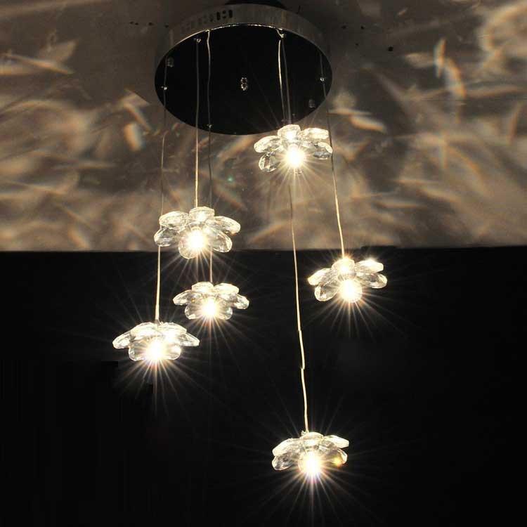 Modern Crystal Flower Dining Room Pendant Light Round Top Base 6 Heads Restaurant Pendant Lamp Bar Counter Pendant Lamp