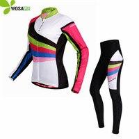 WOSAWE Pro Mỏng Dài Tay Đi Xe Đạp jersey Đặt Phụ Nữ Thể Thao ropa ciclismo Mtb Đạp Xe Đạp Bike 3D Gel Độn Đi Xe Đạp Quần Áo