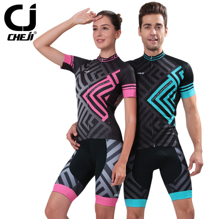 2017 CHEJI Sports Men Women Cycling Jerseys Wear Bicycle Bike set Gel Padded S-XXXL new brand phantom bike bicycle cycling jerseys short set sports t shirts gel padded tights for men