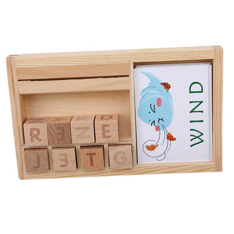 Cartas de rompecabezas cognitivo de madera, nuevos juguetes educativos de cartón para bebé, materiales de aprendizaje inglés de madera Montessori, juguetes de matemáticas