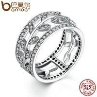 BAMOER Genuine 100 925 Sterling Silver Vivid Tree Leaves DIY 2 Pcs Finger Ring Women Fashion
