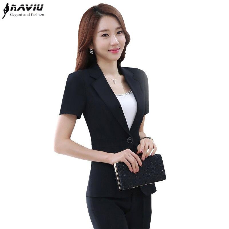 Fashion Women Professional Black Pant Suit Work Wear