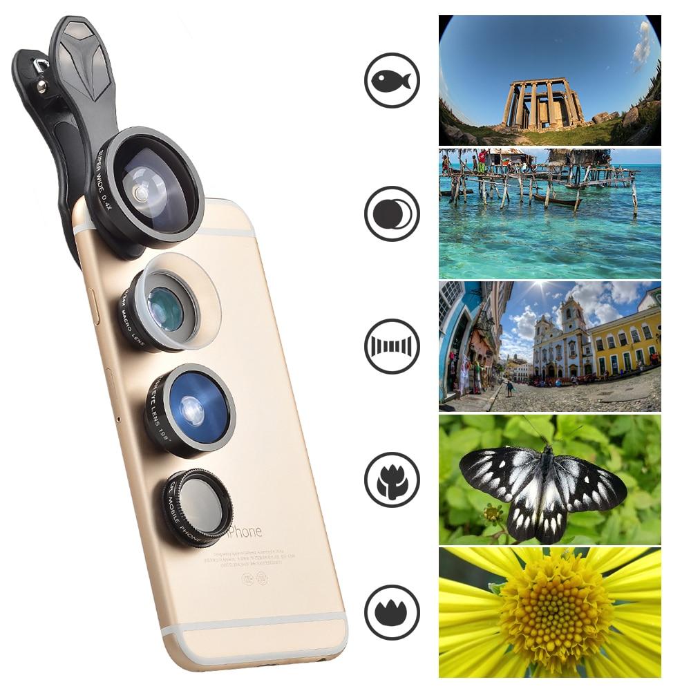 APEXEL 5 in 1 Camera mobile phone Lens Kit SJ5 Fisheye