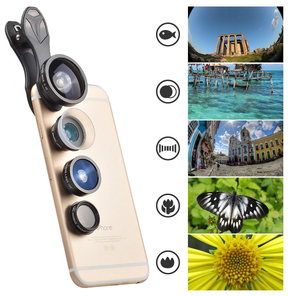 bilder für Apexel 5 in 1 kamera handy objektiv kit für iphone 5 s 6 s 7 samsung xiaomi redmi fisheye makro weitwinkel kpl fiter lente S7J5