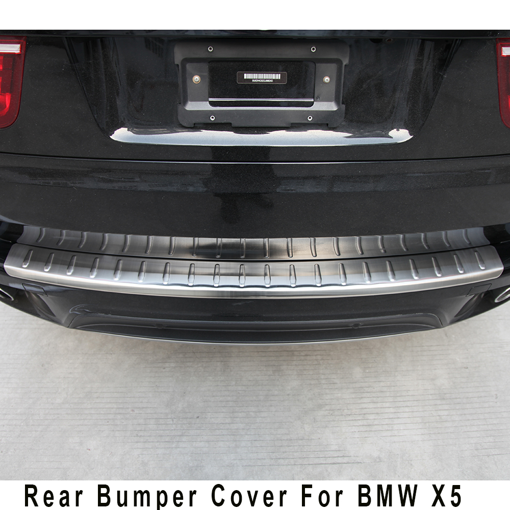Stainless steel rear bumper protector step panel boot cover sill plate trunk trim accessories for 2011 2012 2013 BMW X5  E70 front rear bumper protector sill trunk guard skid plate trim cover plate for nissan qashqai 2007 2008 2009 2010 2011 2012 2013