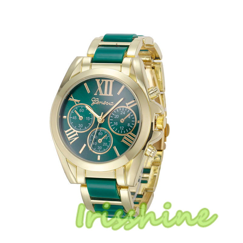 Irisshine #1132 Women Watch Roman Numeral Gold Plated Metal/Nylon Link Watch