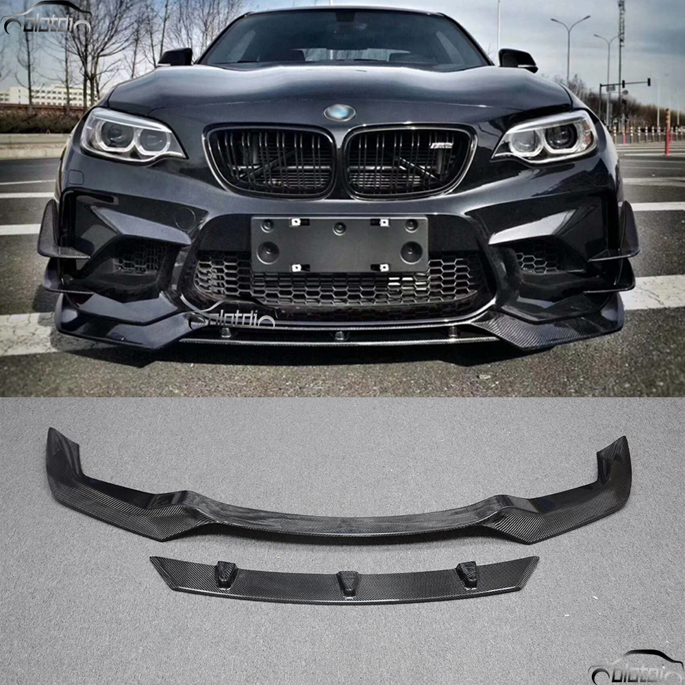 Car Styling Carbon Fiber V Sytle Front Bumper Lip Chin Protector for BMW F87 M2 Base Coupe 2 Door 2016 2017