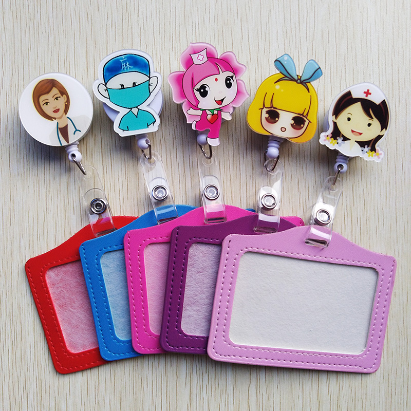 Cute Cartoon Retractable Badge Reel With Horizontal Style PU Badge Clip Doctor And Nurse Special ID Card Work Card Badge Holder