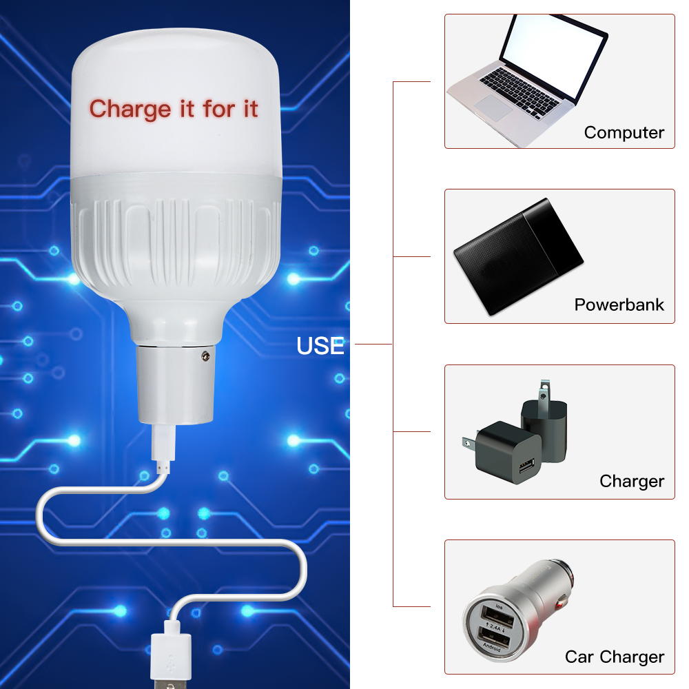 New Arrival Smart LED30W 40W 60W 80W Emergency Light Bulb Rechargeable Intelligent Lamp