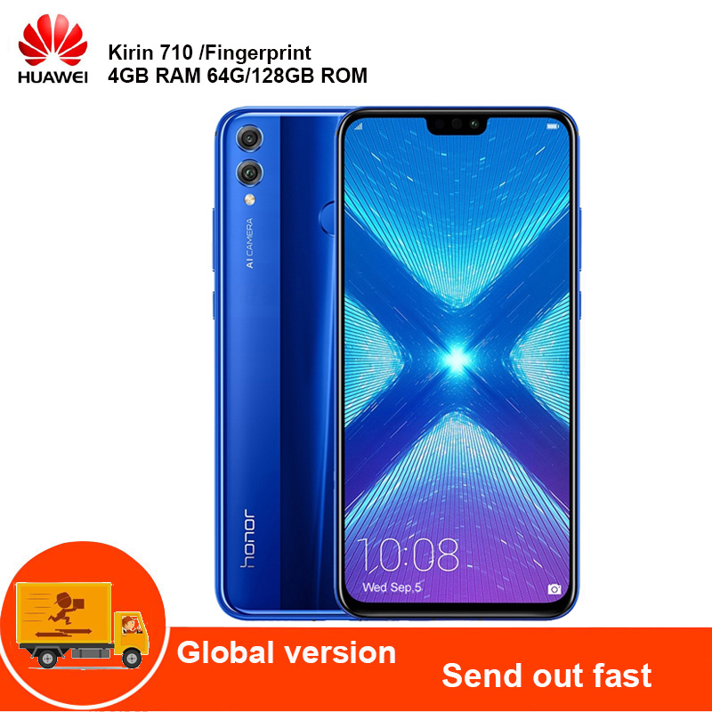 HUAWEI Honor 8x 4G Mobile Cell Phone Phablet 6.5'' Android 8.1 Kirin 710 Octa-Core 2.2GHz 4GB 128GB 20MP Cam Fingerprint 3750mAh