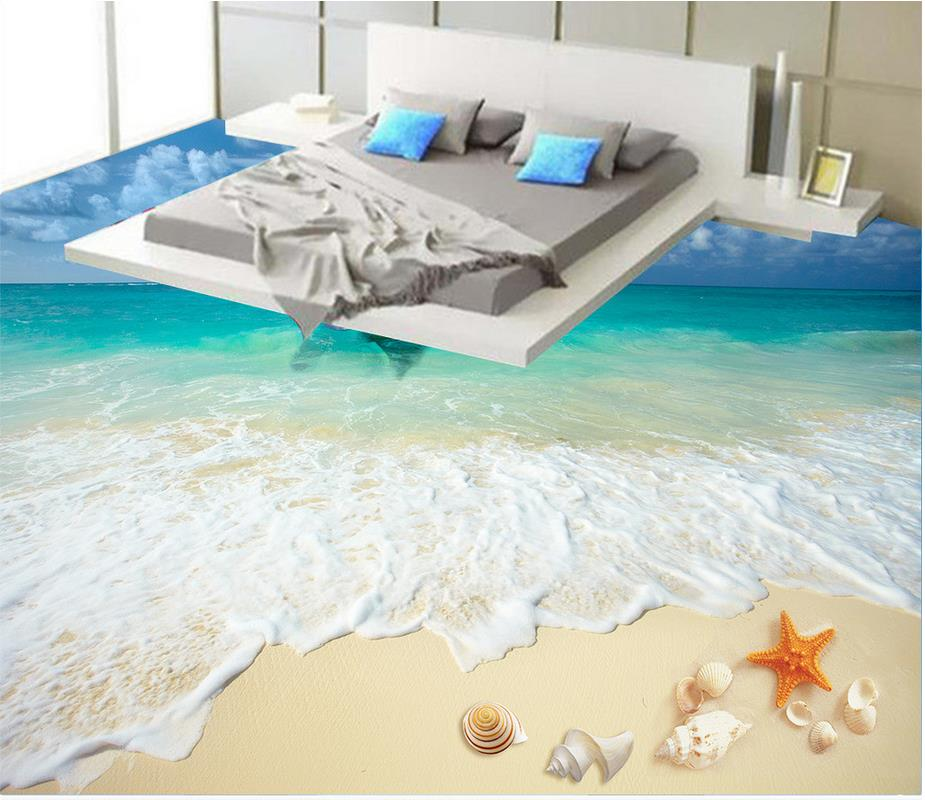 Custom photo floor wallpaper 3d beach floor 3d wall murals for Floor 3d wallpaper