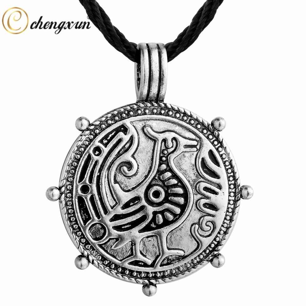 Chengxun Vintage Pria Kalung Antik Retro Viking Jimat Rune Hewan Naga Liontin Slavia Jimat Gothic Perhiasan