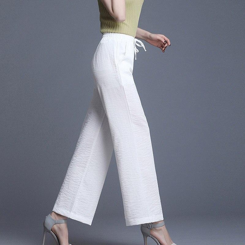LZMZA High Waist Plus Size Linen   Wide     Leg     Pants   Women Summer Office Lady Long   Pant   Elegant Leisure Solid Loose Trousers