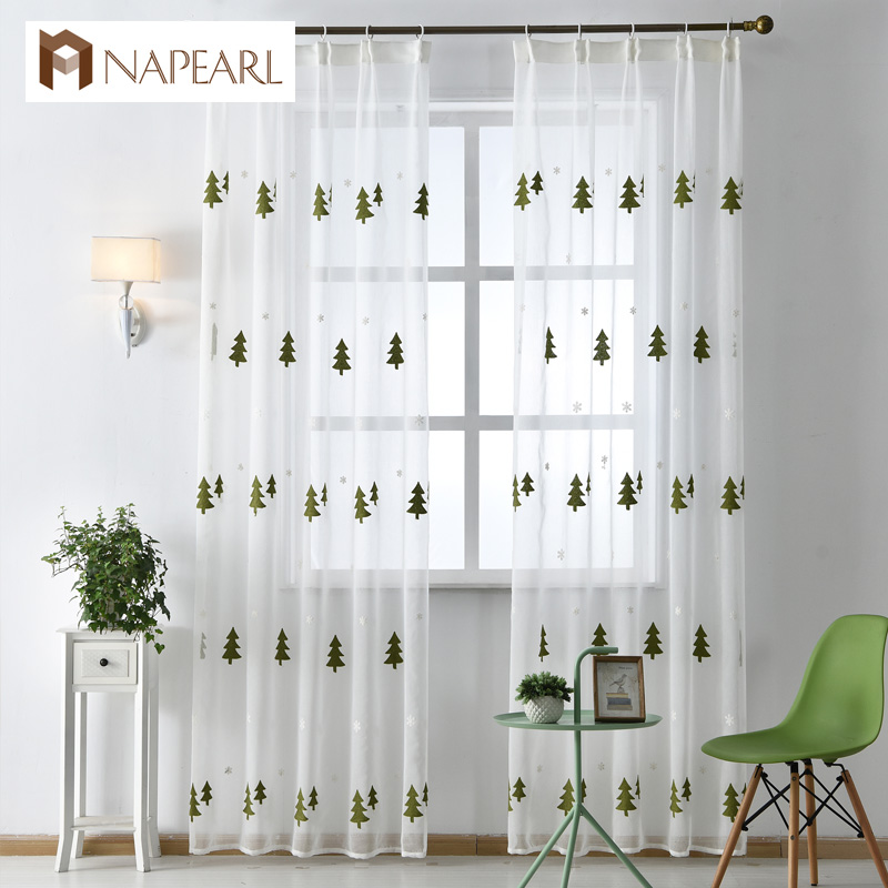 Christmas Tree Embroidered Tulle Linen Curtains White