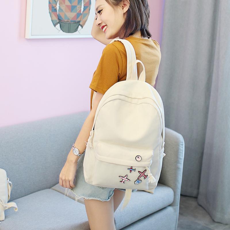 Menghuo 5 Pcsset Women Backpacks Cute Plane Badge School Bags For Teenage Girls Simple Canvas Backpacks Ladies Shoulder Bags (24)