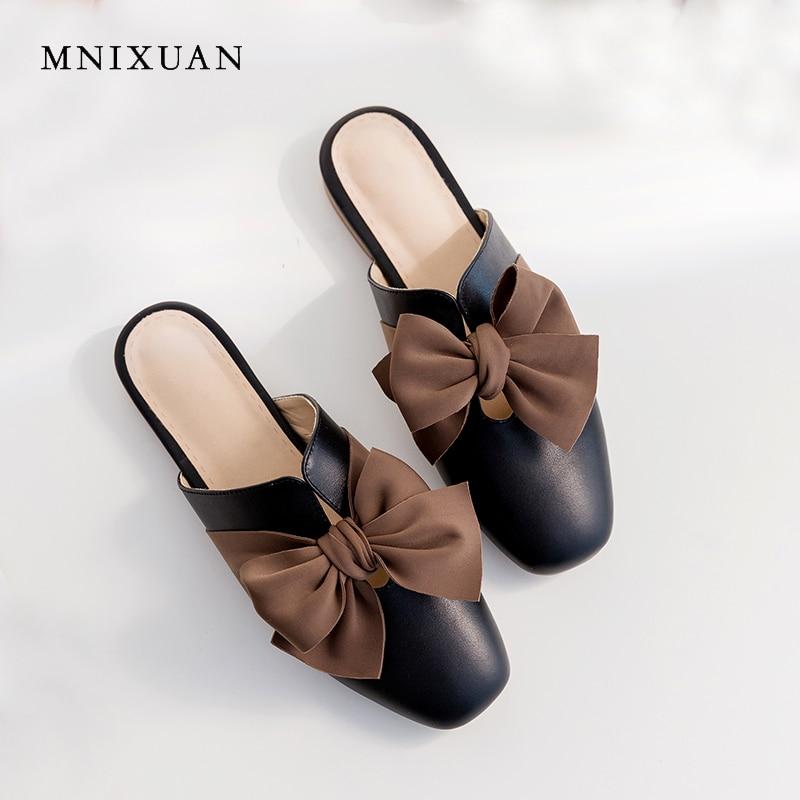MNIXUAN Mode toevallige vrouwen platte schoenen teen muilezels slippers 2019 zomer nieuwe vierkante neus echt leer vlinder knoop schoen-in Slippers van Schoenen op  Groep 2