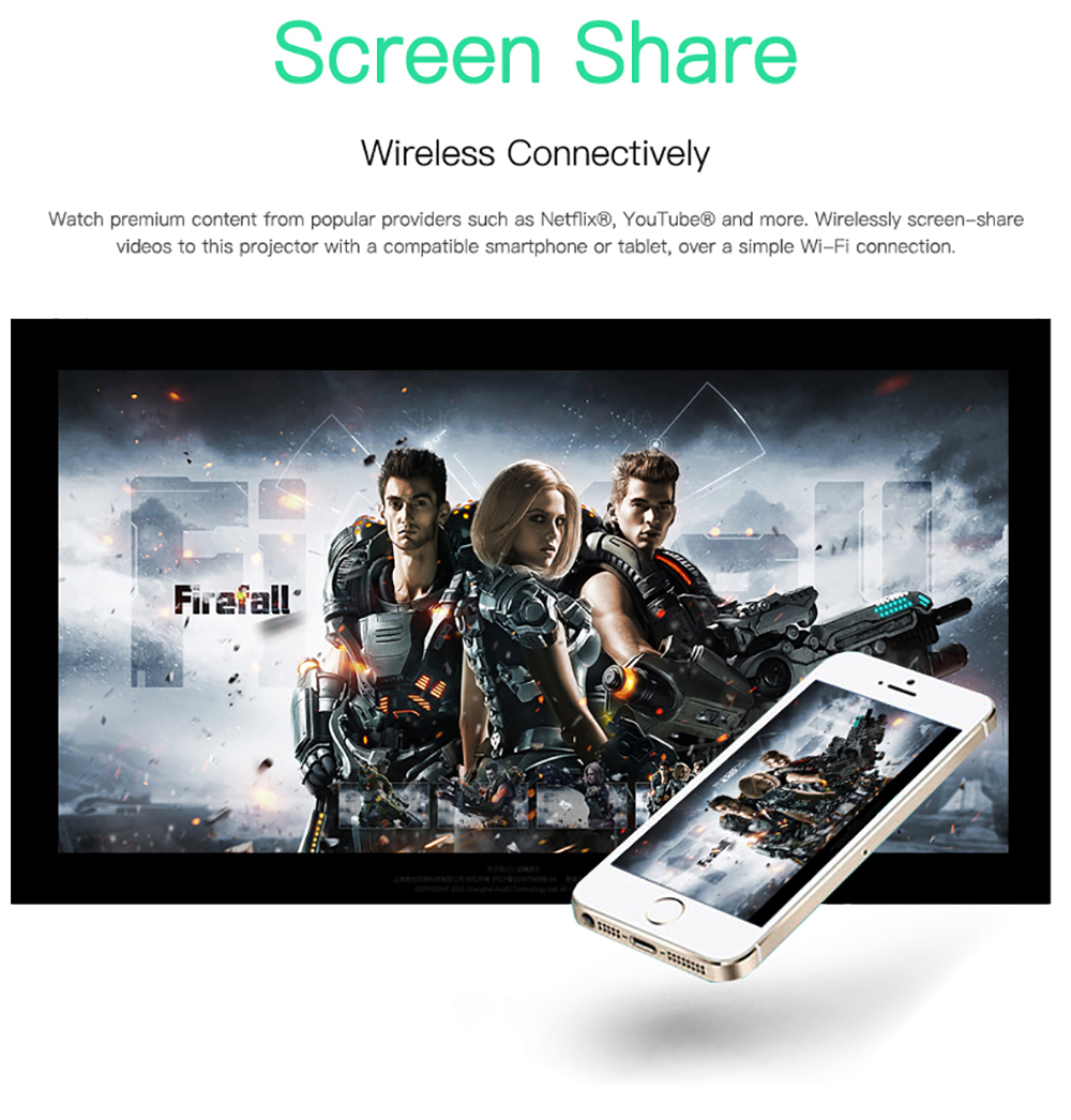 CRENOVA Newest DLP Wifi Bluetooth Mini Projector With Android 7.1.2OS  For Home Theater 8