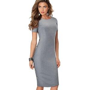 Image 3 - נחמד לנצח אלגנטי בציר מוצק צבע עגול צוואר עבודת כפתור vestidos המפלגה עסקי נדן משרד נשים Bodycon שמלת B499