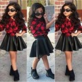 For Spring 2016 Fashion 2PCS Kids Girls Sets Princess Plaid Tops Shirt +Leather Skirt Summer Outfits Clothes For 2-7 Kids Girl