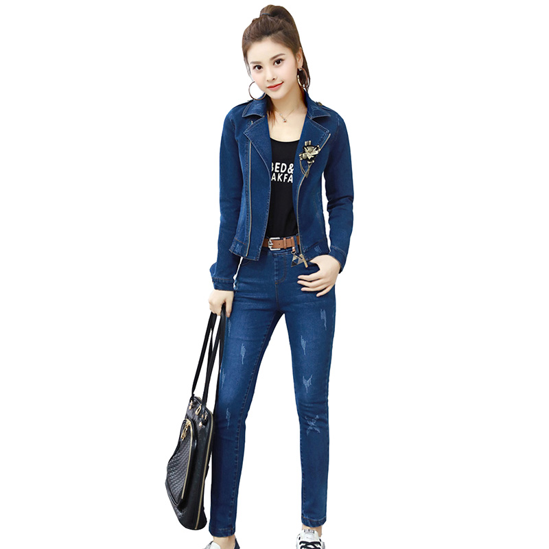 Two pieces of jeans sets women 2018 sping fashion Long sleeve Short jacket and Pencil trousers