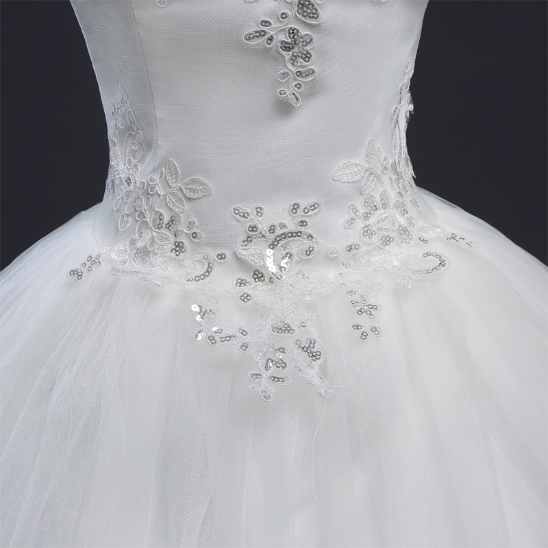 Fansmile Korean Thin Lace Up Ball Gown Wedding Dresses 2017 96778c4a69f9