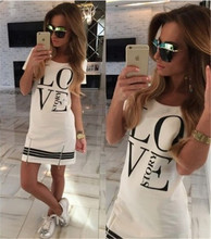 8848#2015 women new style of the letter printed LOVEstory zipper dress tshirts