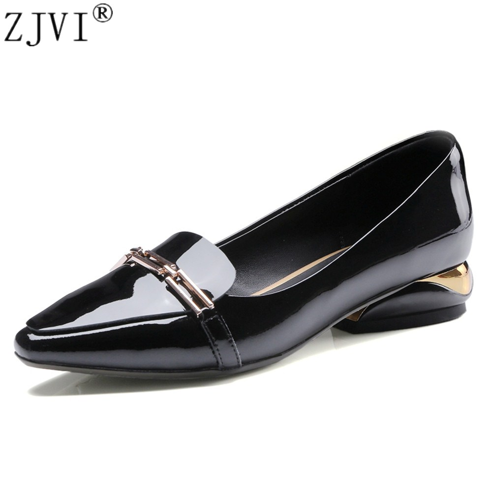 ZJVI woman 2.5cm mid heels pumps 2018 women patent genuine leather summer autumn ladies womens fashion black causal work shoes