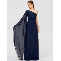 LAN TING BRIDE Chiffon Bridesmaid Dress A Line Princess One Shoulder Floor Length Wedding Party Dresses
