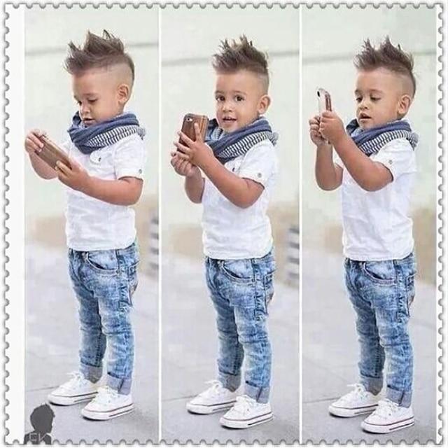 57a245dce7b Boys Summer denim Clothing Sets Hot selling Kids boys T-Shirt + Denim  Pants+scarf 3-Pieces clothing Set Children denim sets