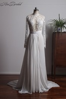 Stunning Elegant Long Sleeve Wedding Dresses Appliques Lace High Neck Backless Bride Dress Chiffon Cheap Wedding Gown