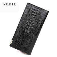 2017 Crocodile Grain Women Long Wallet Genuine Leather Luxury Brand Female Clutch Purse Coin Credit Card