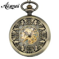 2015 New Arrival Antique Magic Roman Dial Display Hollow Skeleton Hand Wind Mechanical Pocket Watch Long